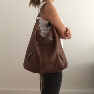 Balenciaga leather hobo in distressed brown